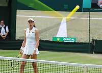 Tennis - 2019 Wimbledon Championships - Week Two, Monday (Day Seven)<br /> <br /> Women's Singles, Fourth Round: Johanna Konta (GBR) v Petra Kvitova (CZE)<br /> <br /> Johanna Konta watches the Hawkeye as her shot is just in, on Centre court .<br /> <br /> COLORSPORT/ANDREW COWIE