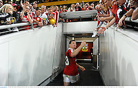 22 June 2013; Brian O'Driscoll, British & Irish Lions, heads for the dressing room following his side's victory. British & Irish Lions Tour 2013, 1st Test, Australia v British & Irish Lions, Suncorp Stadium, Brisbane, Queensland, Australia. Picture credit: Stephen McCarthy / SPORTSFILE