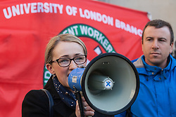 London, UK. 26th February, 2019. Rebecca Long-Bailey, Shadow Business Secretary, addresses mainly migrant striking outsourced workers belonging to the Independent Workers of Great Britain (IWGB), United Voices of the World (UVW) and Public and Commercial Services Union (PCS) trade unions working at the University of London (IWGB), Ministry of Justice (UVW) and Department for Business Energy and Industrial Strategy (PCS), together with representatives of the National Union of Rail, Maritime and Transport Workers (RMT) Regional Council, taking part in a 'Clean Up Outsourcing' demonstration to call for an end to the practice of outsourcing. The demonstration was organised to coincide with a significant High Court hearing of an application by the IWGB for judicial review of a decision by the Central Arbitration Committee (CAC) not to hear their application for trade union recognition for the purposes of collective bargaining with the University of London.
