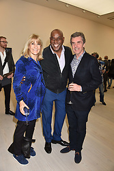 Left to right, Lynn Faulds Wood, Ainsley Harriott and John Stapleton at a preview of the 'From Selfie To Self-Expression' exhibition at The Saatchi Gallery, Duke Of York's HQ, King's Road, London, England. 30 March 2017.