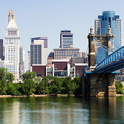 Picture of downtown Cincinnati skyline, John A. Roebling bridge, and Cincinnati city office buildings including Great American Insurance Group Tower, Omnicare building, and Scripps Center building. Photo was taken in July 2012.