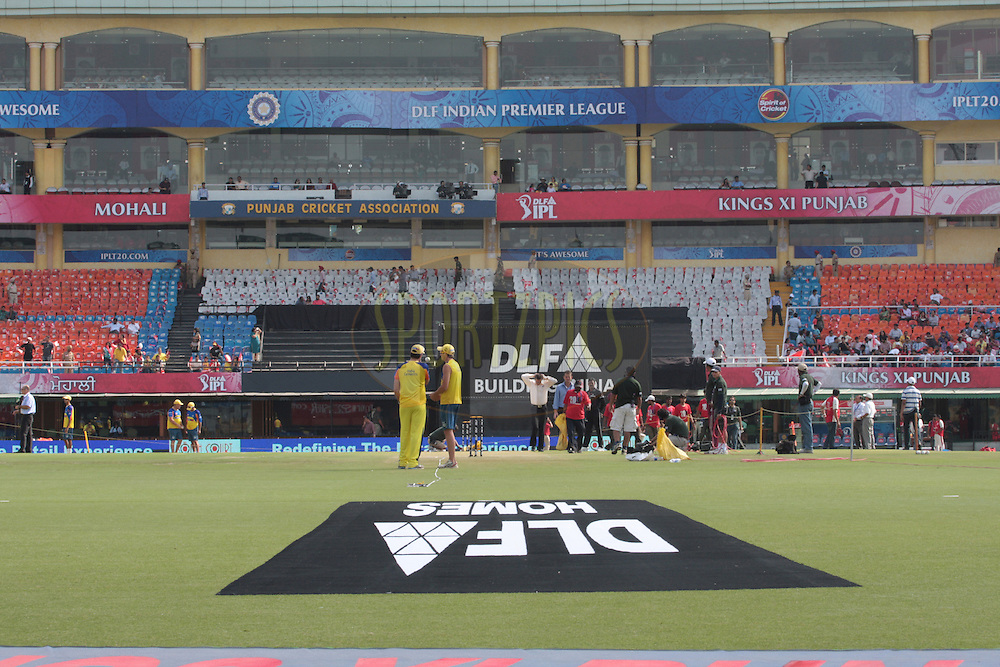Chennai players inspect the field before. match 9 of the Indian Premier League ( IPL ) Season 4 between the Kings XI Punjab and the Chennai Super Kings held at the PCA stadium in Mohali, Chandigarh, India on the 13th April 2011..Photo by Anil Dayal/BCCI/SPORTZPICS