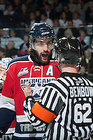 KELOWNA, CANADA - MARCH 23: Justin Hamonic #6 of the Tri-City Americans speaks to the referee about a call at the Kelowna Rockets on March 23, 2014 at Prospera Place in Kelowna, British Columbia, Canada.   (Photo by Marissa Baecker/Shoot the Breeze)  *** Local Caption *** Justin Hamonic;