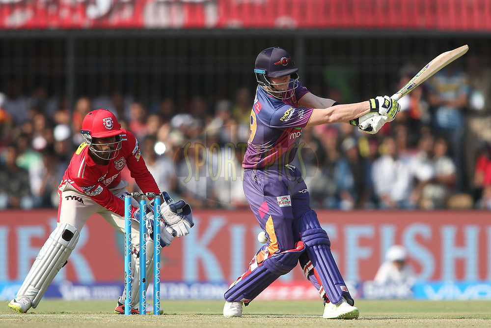 Rising Pune Supergiant captain Steven Smith misses while attempting to pull a delivery during match 4 of the Vivo 2017 Indian Premier League between the Kings XI Punjab and the Rising Pune Supergiant held at the Holkar Cricket Stadium in Indore, India on the 8th April 2017<br /> <br /> Photo by Shaun Roy - IPL - Sportzpics