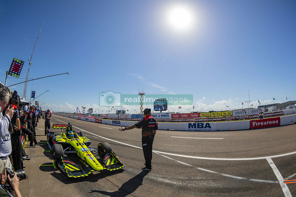 March 9, 2019 - St. Petersburg, Florida, U.S. - SEBASTIEN BOURDAIS (18) of France prepares for a practice session for the Firestone Grand Prix of St. Petersburg at The Temporary Waterfront Street Course in St. Petersburg Florida. (Credit Image: © Walter G Arce Sr Asp Inc/ASP)