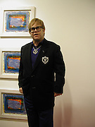 Sir Elton John, Private view of 40 limited edition prints especially created by Howard Hodgkin for Elton John AIDS Foundation, Alan Christea Gallery, 6 February 2003. All proceeds from the evening benefit Elton John AIDS Foundation.© Copyright Photograph by Dafydd Jones 66 Stockwell Park Rd. London SW9 0DA Tel 020 7733 0108 www.dafjones.com