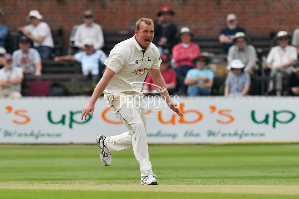Alex Hales of Nottinghamshire appeals while bowling during the Specsavers County Champ Div 1 match between Somerset County Cricket Club and Nottinghamshire County Cricket Club at the Cooper Associates County Ground, Taunton, United Kingdom on 10 June 2018. Picture by Graham Hunt.