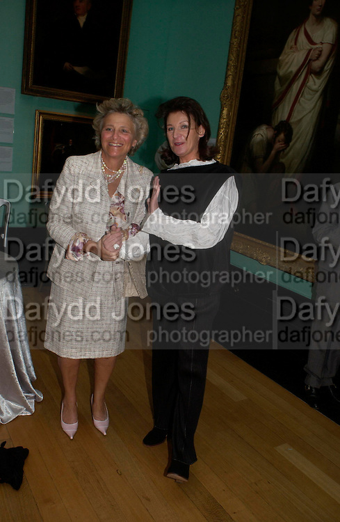 Dame Vivian Clore and Lady Saatchi ( Josephine Hart) . Celebration of Lord Weidenfeld's 60 Years in Publishing hosted by Orion. the Weldon Galleries. National Portrait Gallery. London. 29 June 2005. ONE TIME USE ONLY - DO NOT ARCHIVE  © Copyright Photograph by Dafydd Jones 66 Stockwell Park Rd. London SW9 0DA Tel 020 7733 0108 www.dafjones.com
