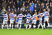 Goal - Aramide Oteh (18) of Queens Park Rangers celebrates scoring a goal to give a 1-0 lead to the home team during the The FA Cup 3rd round match between Queens Park Rangers and Leeds United at the Loftus Road Stadium, London, England on 6 January 2019.
