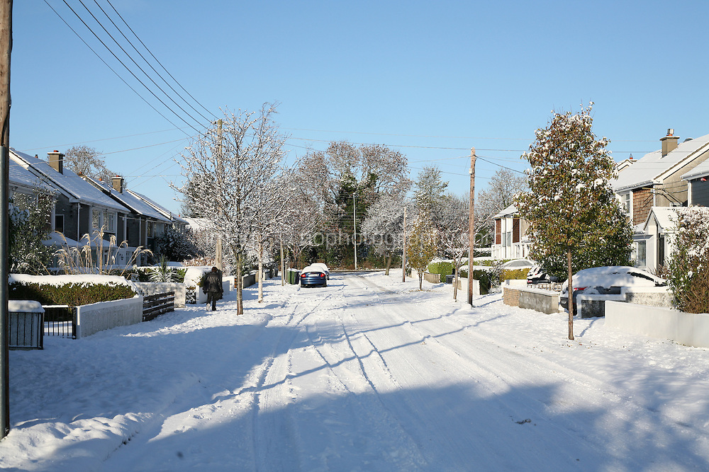 Snow covered streets in Dublin Ireland during the cold snap in November 2010