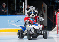 KELOWNA, CANADA - OCTOBER 4:  Rocky Racoon mascot of the Kelowna Rockets enters the ice on his quad during intermission against the Portland Winterhawks  at the Kelowna Rockets on October 4, 2013 at Prospera Place in Kelowna, British Columbia, Canada (Photo by Marissa Baecker/Shoot the Breeze) *** Local Caption ***