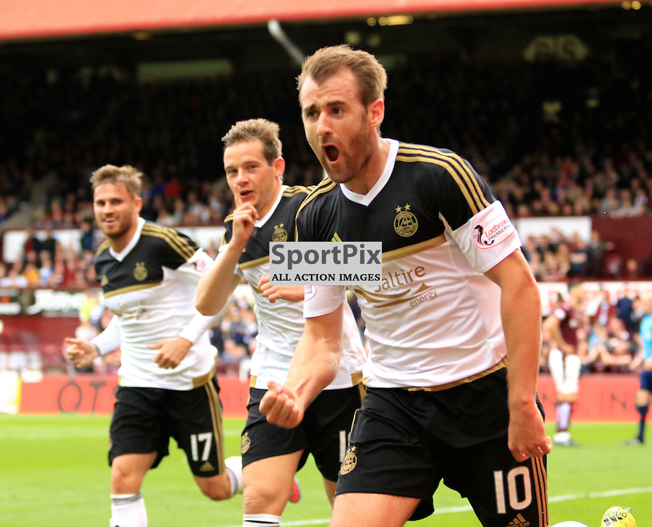 Aberdeen's Niall McGinn celebrates after scoring  the second goal during the Heart of Midlothian FC  V Aberdeen FC  Scottish Premiership  20th September 2015  ©Edward Linton | SportPix.org.uk