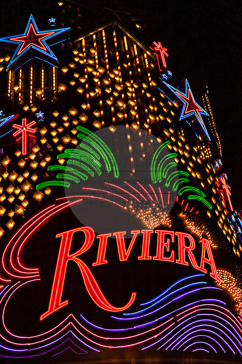 Neon light exterior of the Riviera casino and resort in Las Vegas, NV.