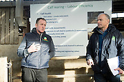 John Donoghue who hosted   a calf care event organised by Aurivo's Farm Profitability Programme, Teagasc and Animal Health Ireland with Tom Murphy, Teagasc. Photo:Andrew Downes, xposure