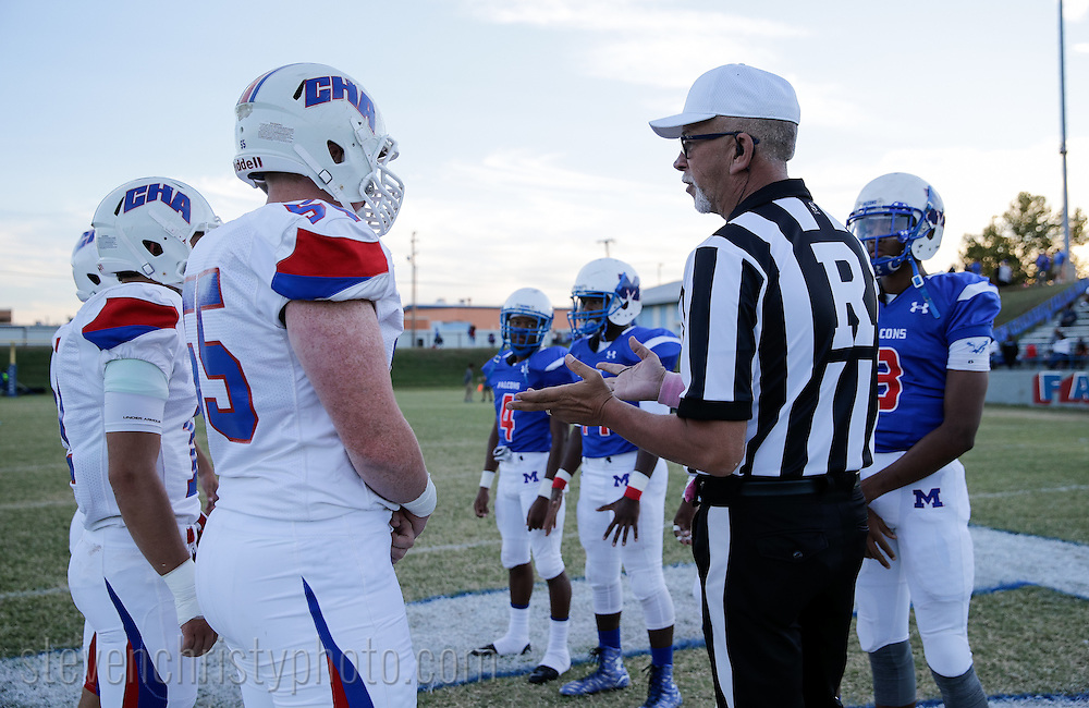 September 30, 2016: The Christian Heritage Academy Crusaders play the Millwood High School Falcons in a varsity football game at Millwood High School in Oklahoma City, Oklahoma.