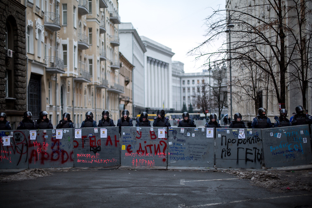 A police roadblock on Bankova Street, in front of the presidential administration.