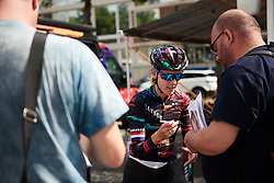Hannah Barnes (GBR) signs an autograph at Boels Ladies Tour 2018 - Prologue, a 3.3 km time trial in Arnhem, Netherlands on August 28, 2018. Photo by Sean Robinson/velofocus.com