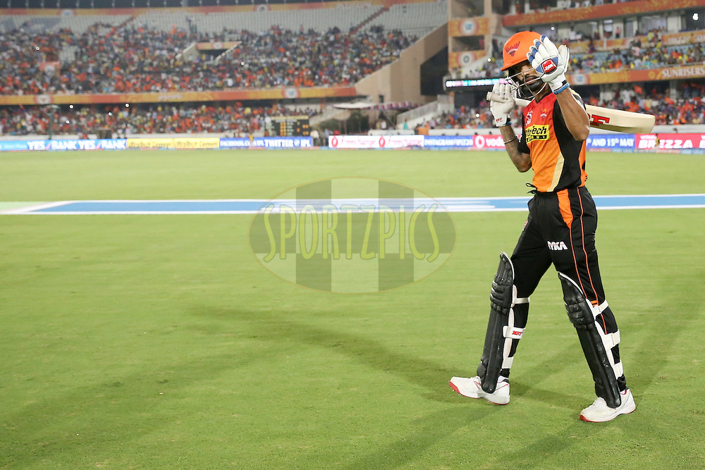 Sunrisers Hyderabad player Shikar Dhawan during match 42 of the Vivo IPL 2016 (Indian Premier League ) between the Sunrisers Hyderabad and the Delhi Daredevils held at the Rajiv Gandhi Intl. Cricket Stadium, Hyderabad on the 12th May 2016<br /> <br /> Photo by Faheem Hussain / IPL/ SPORTZPICS