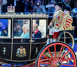 WINDSOR - UK - 15th May 2016: Britain's HM Queen Elizabeth accompanied by HRH The Duke of Edinburgh and  members of the royal family attend a performance in the grounds of Windsor Castle of Queen Elizabeth's  90th Birthday Celebration. 1,599 participants and 900 horses perform.<br /> Kate, The Duchess of Cornwall, Prince William, Prince Harry, The Prince of Wales, The Duchess of Cornwall, Princesses Beatrice and Eugenie.<br /> <br /> The King of Bahrain sat with HM The Queen<br /> <br /> Photograph by Ian Jones