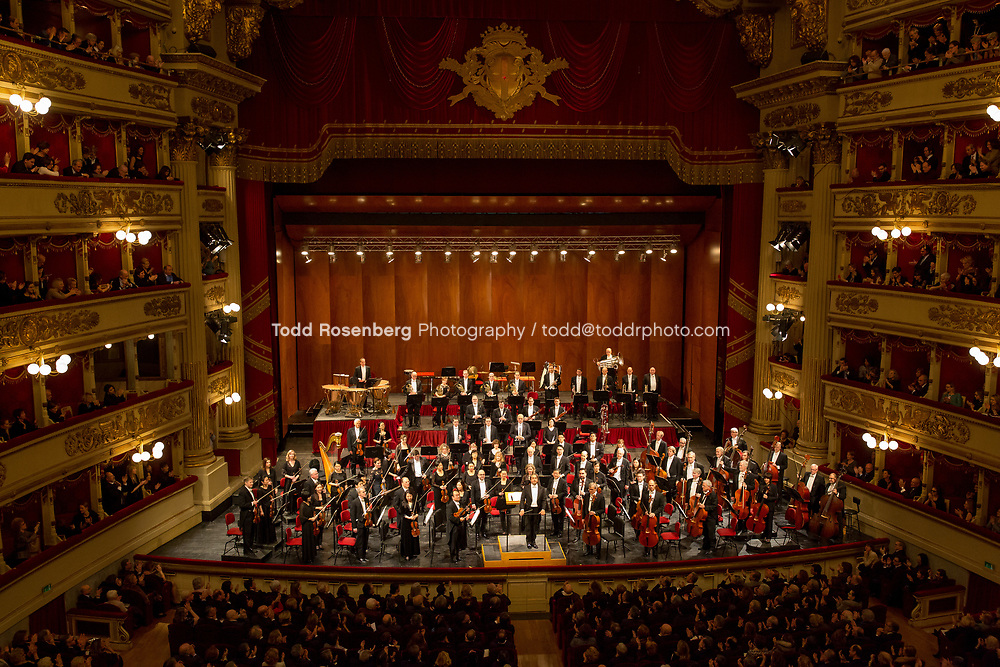 1/20/17 8:03:41 PM -- The Chicago Symphony Orchestra, Riccardo Muti Music Director<br /> <br /> 2017 European Tour <br /> <br /> Concert and Post Concert Activities at Teatro della Scala<br /> <br /> The CSO takes their opening bow before the start of the concert. <br /> <br /> <br /> &copy; Todd Rosenberg Photography 2017