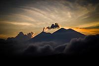 Guatemala's Fuego volcano erupts at sunset on November 25, 2018.