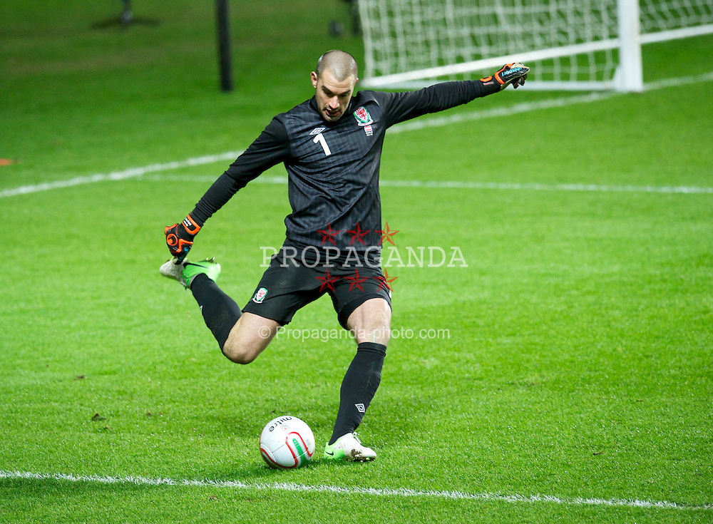 SWANSEA, WALES - Wednesday, February 6, 2013: Wales' goalkeeper Boaz Myhill in action against Austria during the International Friendly at the Liberty Stadium. (Pic by Tom Hevezi/Propaganda)
