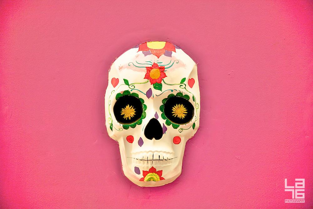 Colorful Mexican skulls designed for the celebrations of the Day of the Dead (El Día de Los Muertos).