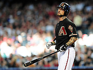 Jun. 18 2011; Phoenix, AZ, USA; Arizona Diamondbacks batter Ryan Roberts (14) reacts while playing against the Chicago White Sox at Chase Field. The White Sox defeated the Diamondbacks 6-2. Mandatory Credit: Jennifer Stewart-US PRESSWIRE