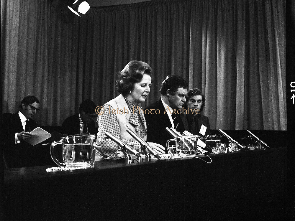 EEC Leaders Meet At Dublin Castle.   (N4)..1979..29.11.1979..11.29.1979..29th November 1979..At Dublin Castle the leaders of the countries within the EEC held a summit conference to discuss issues which would affect the EEC over the forthcoming years..At the end of the conference Mrs Margaret Thatcher,the British Prime Minister,is pictured making a statement outlining her views on the summit.