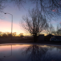 A sunset silhouettes trees and is reflected in the hood of a car in Shiprock January 31.