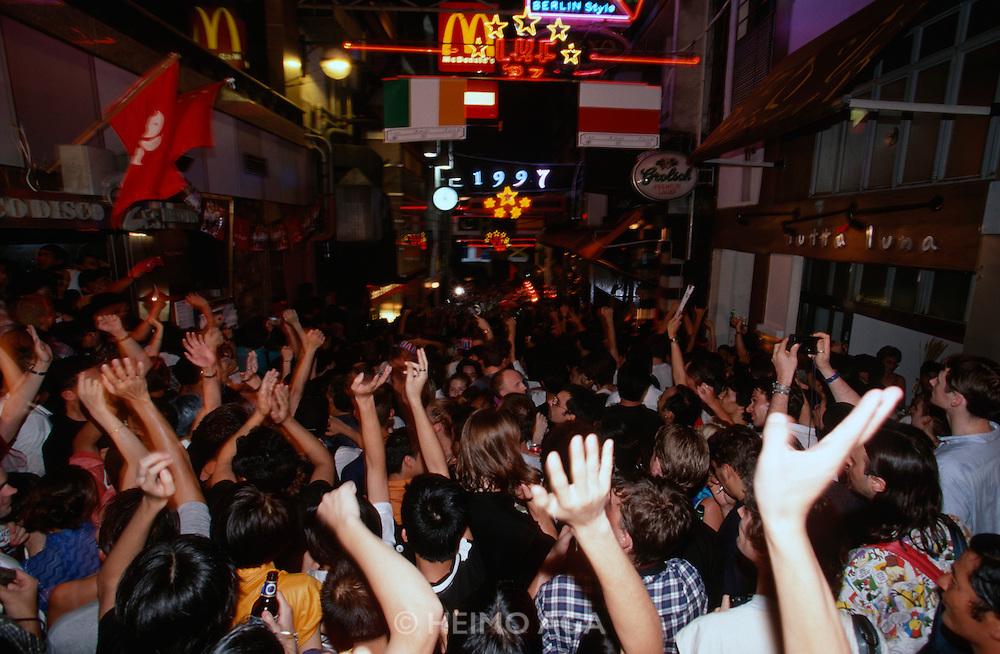 Handover Night. (Mainly Western) youth celebrating in Lan Kwai Fong.