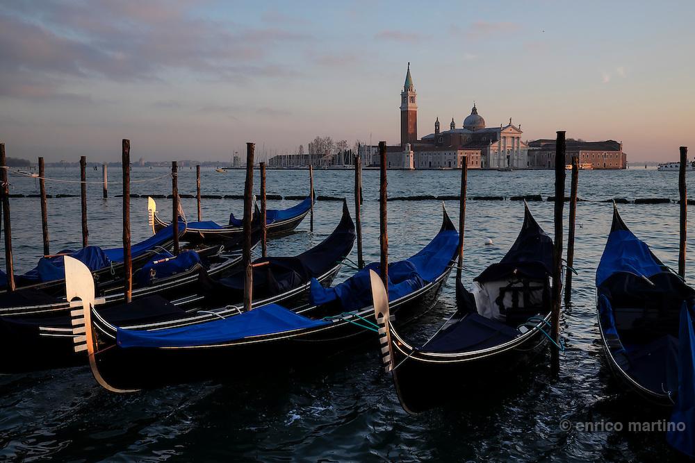 San Marco square, gondolas piers. On the back San Giorgio Maggiore island.