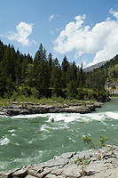 "Rafting through ""Lunch Counter Rapid"" (class 3) on the Snake River near Jackson,  Wyoming."