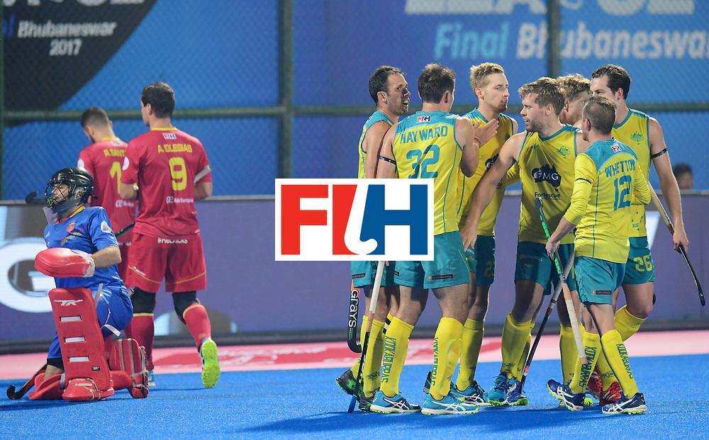 Odisha Men's Hockey World League Final Bhubaneswar 2017<br /> Match id:15<br /> Spain v Australia<br /> Foto: Australia scored goal<br /> COPYRIGHT WORLDSPORTPICS FRANK UIJLENBROEK