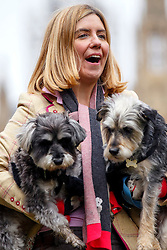 © Licensed to London News Pictures. 29/10/2015. London, UK. Conservative MP Andrea Jenkyns and her dogs Lady and Godiva Jenkyns win the Westminster Dog of the Year competition in Victoria Tower Gardens in London on Thursday, 29 October 2015. Photo credit: Tolga Akmen/LNP