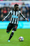 Christian Atsu (#30) of Newcastle United on the ball during the Premier League match between Newcastle United and Huddersfield Town at St. James's Park, Newcastle, England on 31 March 2018. Picture by Craig Doyle.