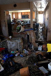 25 Oct, 2005. New Orleans, Louisiana. Hurricane Katrina aftermath. <br /> The 8th ward lies in ruins following Katrina's devastating floods. Inside a home turned upside down by the flood waters.<br /> Photo; &copy;Charlie Varley/varleypix.com