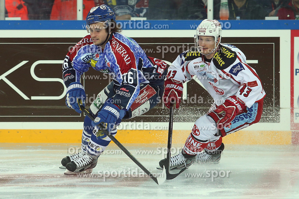 25.01.2013, Arena Zagreb, Zagreb, CRO, EBEL, KHL Medvescak Zagreb vs EC KAC, Platzierungsrunde, im Bild Francois Bouchard #16, Tomislav Zanoski #43 // during the Erste Bank Icehockey League placement Round match between KHL Medvescak Zagreb and EC KAC at the Arena Zagreb, Zagreb, Croatia on 2013/01/25. EXPA Pictures © 2013, PhotoCredit: EXPA/ Pixsell/ Dalibor Urukalovic..***** ATTENTION - for AUT, SLO, SUI, ITA, FRA only *****