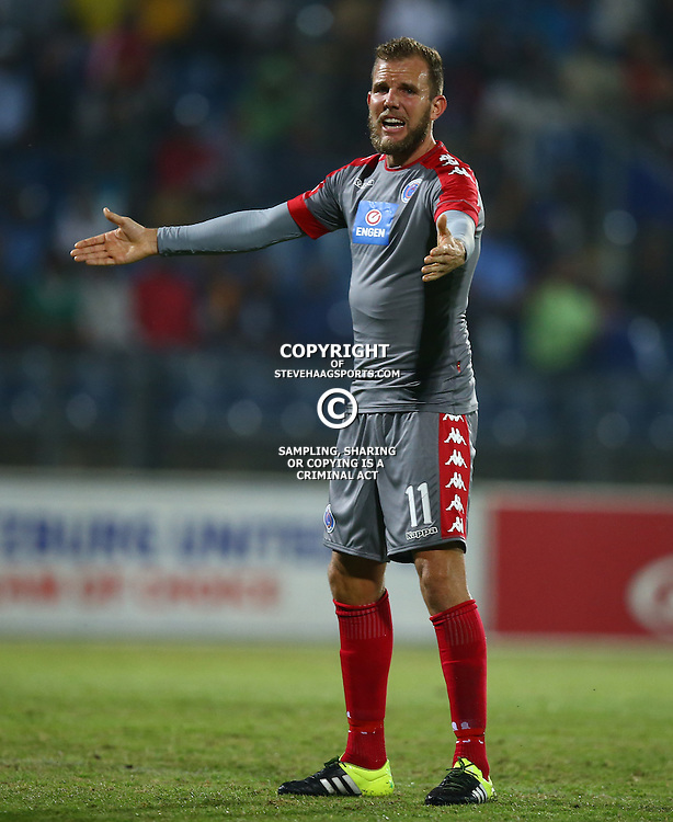 Jeremy Brockie of SuperSport United during the 2016 Premier Soccer League match between Maritzburg Utd and SuperSport United held at the Harry Gwala Stadium in Pietermaritzburg, South Africa on the 21st September 2016<br /> <br /> Photo by:   Steve Haag / Real Time Images