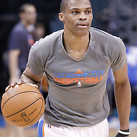 12 June 2012: Oklahoma City Thunder point guard Russell Westbrook (0) warms up prior to Game 1 of the 2012 NBA Finals between the Heat and the Thunder, at the Chesapeake Energy Arena, Oklahoma City, Oklahoma, USA.