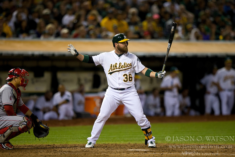 OAKLAND, CA - SEPTEMBER 23:  Derek Norris #36 of the Oakland Athletics calls for time during an at bat against the Los Angeles Angels of Anaheim during the fourth inning at O.co Coliseum on September 23, 2014 in Oakland, California. The Los Angeles Angels of Anaheim defeated the Oakland Athletics 2-0.  (Photo by Jason O. Watson/Getty Images) *** Local Caption *** Derek Norris