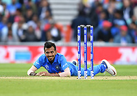 Cricket - 2019 ICC Cricket World Cup - Group Stage: India vs. Australia<br /> <br /> India's Yuzvendra Chahal fails with a difficult caught and bowled chance, at The Kia Oval.<br /> <br /> COLORSPORT/ASHLEY WESTERN