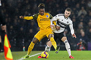 Brighton and Hove Albion defender Gaetan Bong (3) battles with Fulham defender Calum Chambers (5) during the Premier League match between Fulham and Brighton and Hove Albion at Craven Cottage, London, England on 29 January 2019.