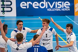 Rick van der Sluis #2 of Sliedrecht Sport, Yorick de Groot #5 of Sliedrecht Sport  in action in the second round between Sliedrecht Sport and Draisma Dynamo on February 29, 2020 in sports hall de Basis, Sliedrecht