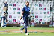 Stuart Broad of England inspects the pitch during the 3rd International Test Match 2018 match between England and India at Trent Bridge, West Bridgford, United Kingdon on 18 August 2018.