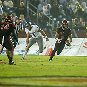 18 November 2017:  The San Diego State football team hosts Nevada Saturday night. San Diego State Aztecs safety Trey Lomax (3) picks off a pass late in the fourth quarter and returns it close to mid field. The Aztecs beat the Wolf Pack 42-23 at SDCCU stadium. <br /> www.sdsuaztecphotos.com