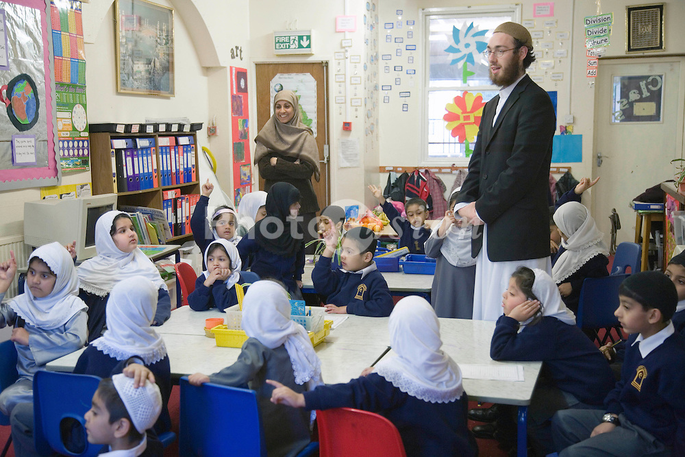 Teacher giving a lesson at the Nottingham Islamia school,