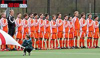 AERDENHOUT - 07-04-2012 -Oranje , zaterdag voor de wedstrijd tussen Nederland Jongens A en Engeland Jongens A (3-4), tijdens het Volvo 4-Nations Tournament op de velden van Rood-Wit in Aerdenhout.