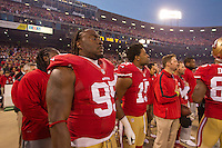 12 January 2013: Defensive tackle (95) Ricky Jean-Francois of the San Francisco 49ers stands during the National Anthem before playing against the Green Bay Packers before the 49ers 45-31 victory over the Packers in an NFL Divisional Playoff Game at Candlestick Park in San Francisco, CA.
