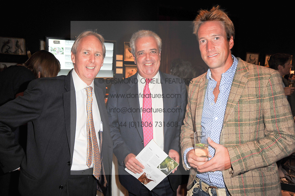Left to right, CHARLIE MAYHEW, HUGH EDMEADES Director of Christie's and BEN FOGLE at an auction and priavte view of paintings, drawings, stories and doodles by well known personalities held at Christie's, St.James's, London on 20th September 2010.